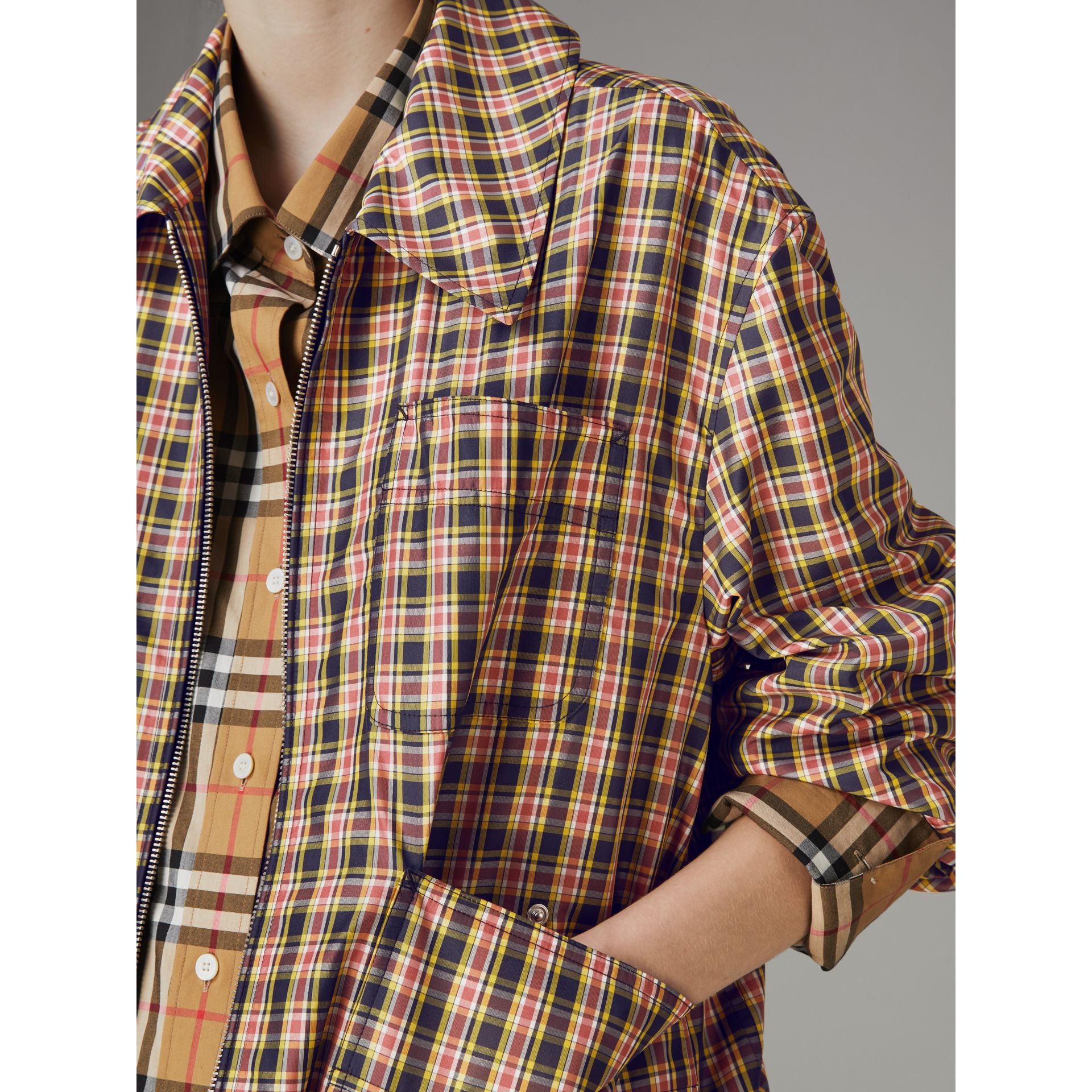 Lightweight Check Harrington Jacket in Bright Coral Pink - Women | Burberry - gallery image 1