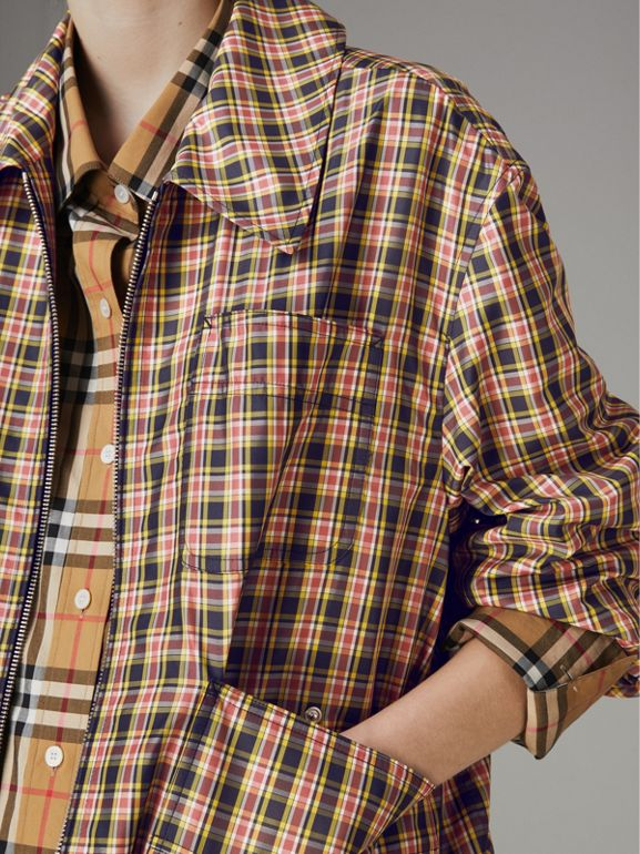 Lightweight Check Harrington Jacket in Bright Coral Pink - Women | Burberry Singapore - cell image 1