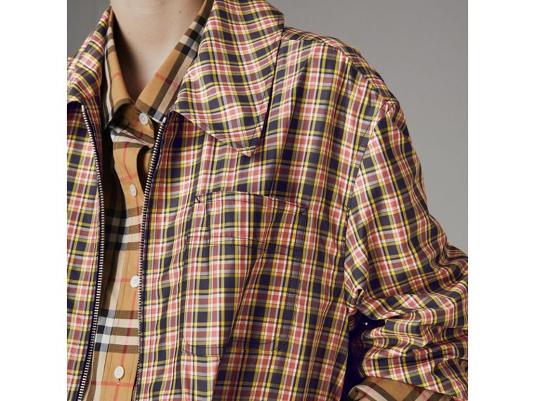 Lightweight Check Harrington Jacket in Bright Coral Pink - Women | Burberry - cell image 1