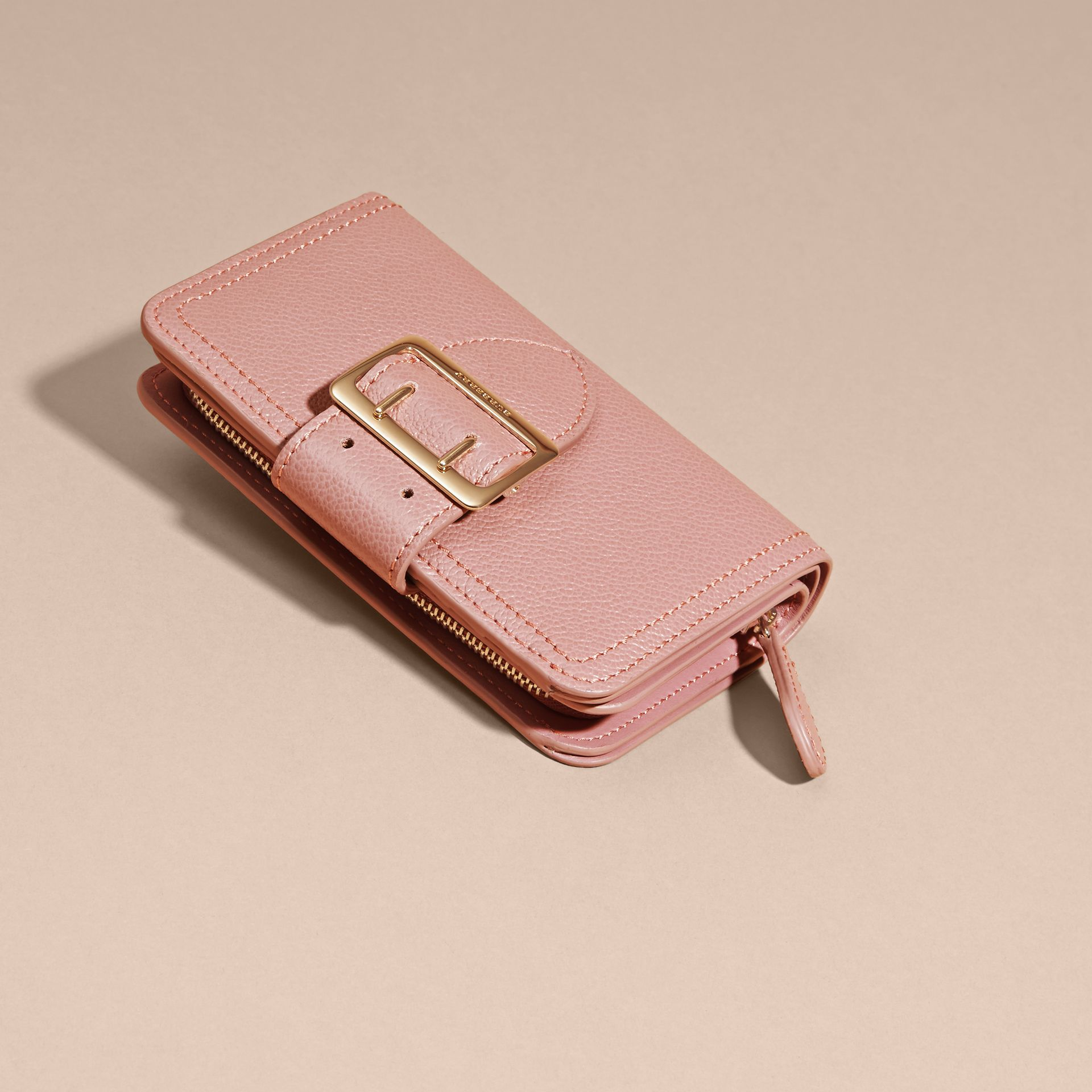 Dusty pink Buckle Detail Grainy Leather Wallet Dusty Pink - gallery image 3