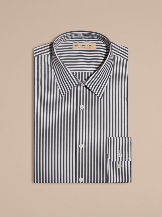 Slim Fit Striped Cotton Poplin Shirt Charcoal