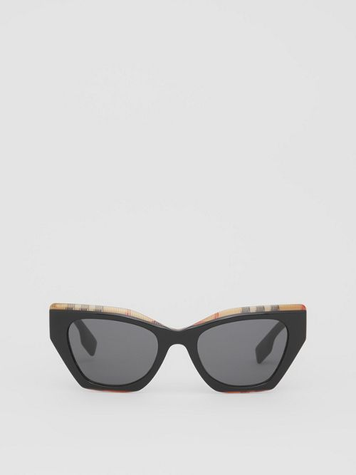 Burberry Sunglasses VINTAGE CHECK DETAIL BUTTERFLY FRAME SUNGLASSES