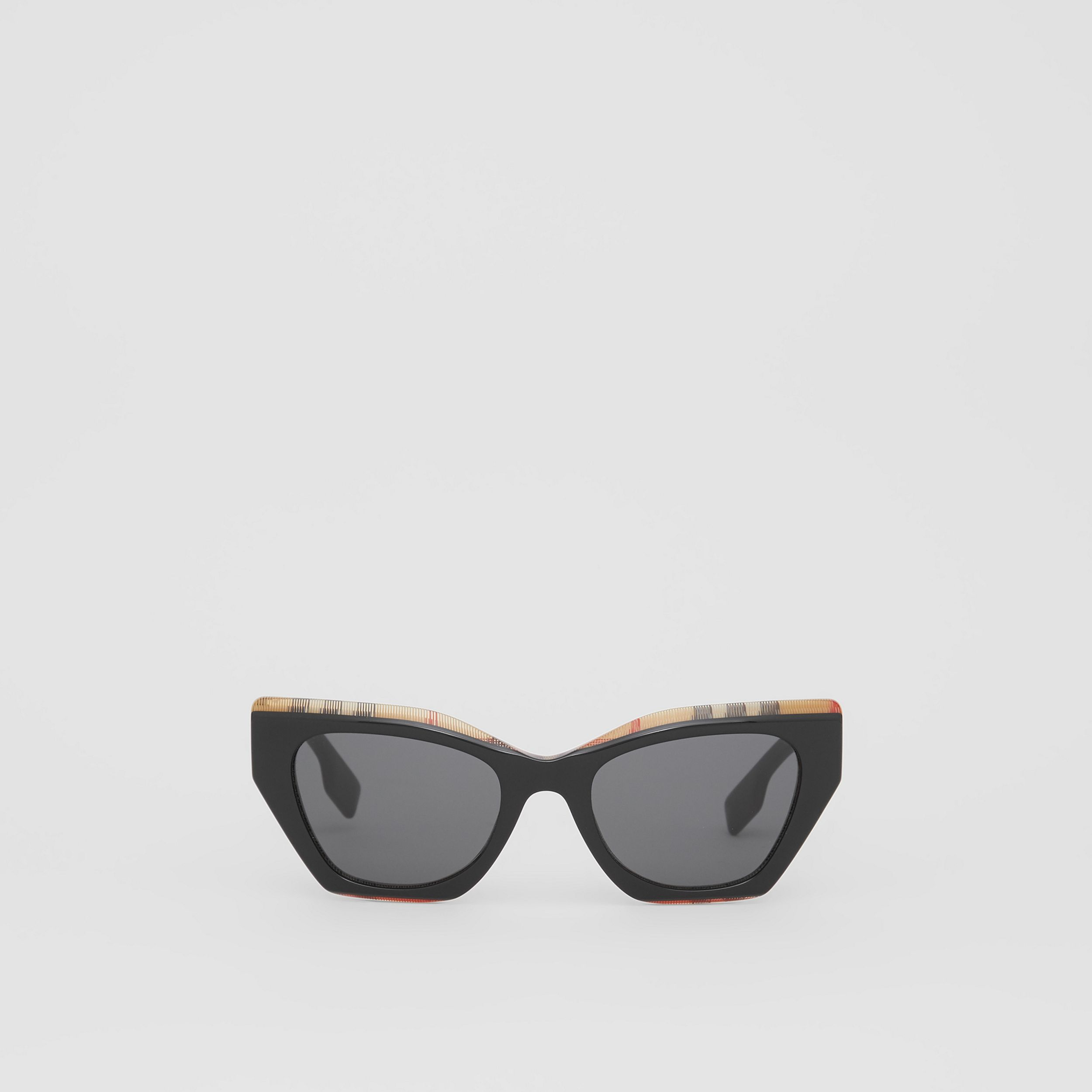 Vintage Check Detail Butterfly Frame Sunglasses in Black/archive Beige - Women | Burberry - 1
