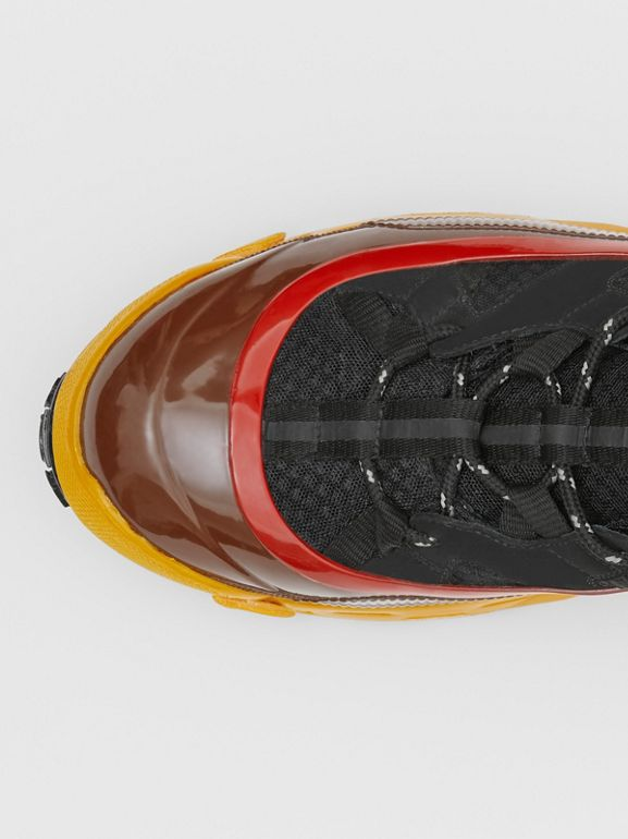 Mesh, Nylon and Nubuck Arthur Sneakers in Black/yellow   Burberry - cell image 1
