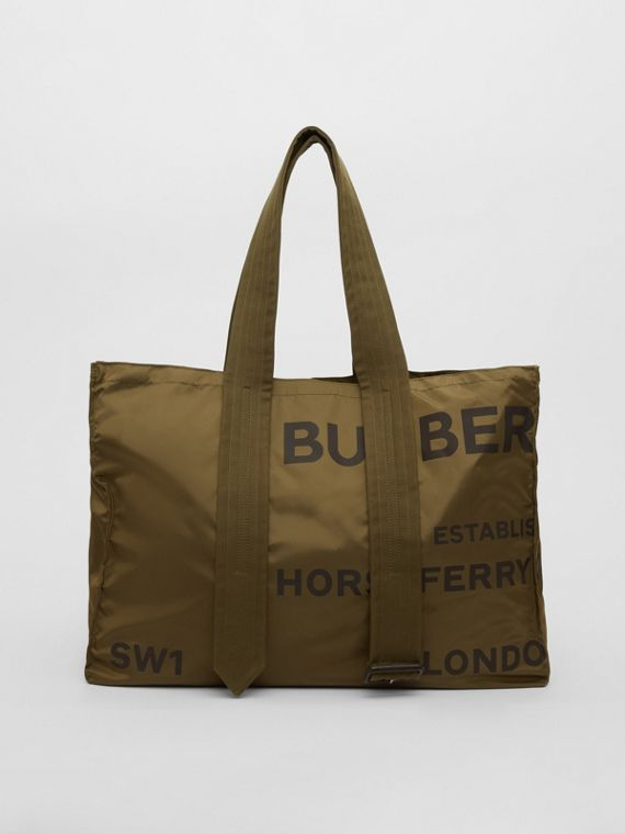 Belt Detail Horseferry Print Nylon Tote in Dark Military Khaki