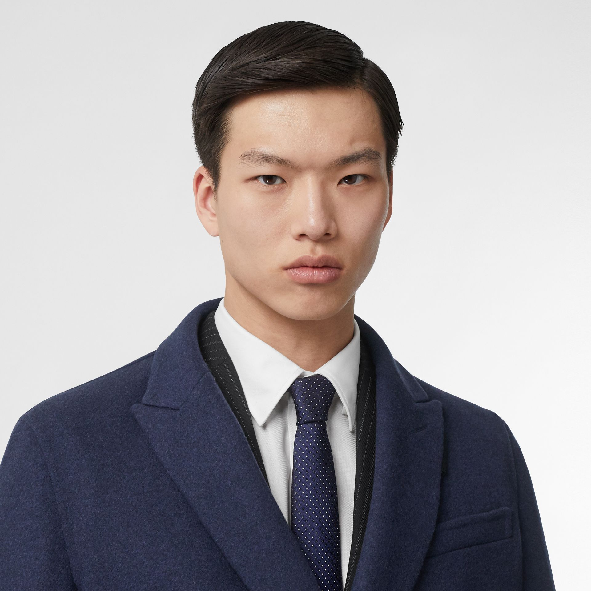 Classic Cut Micro Dot Silk Jacquard Tie in Navy - Men | Burberry Australia - gallery image 2