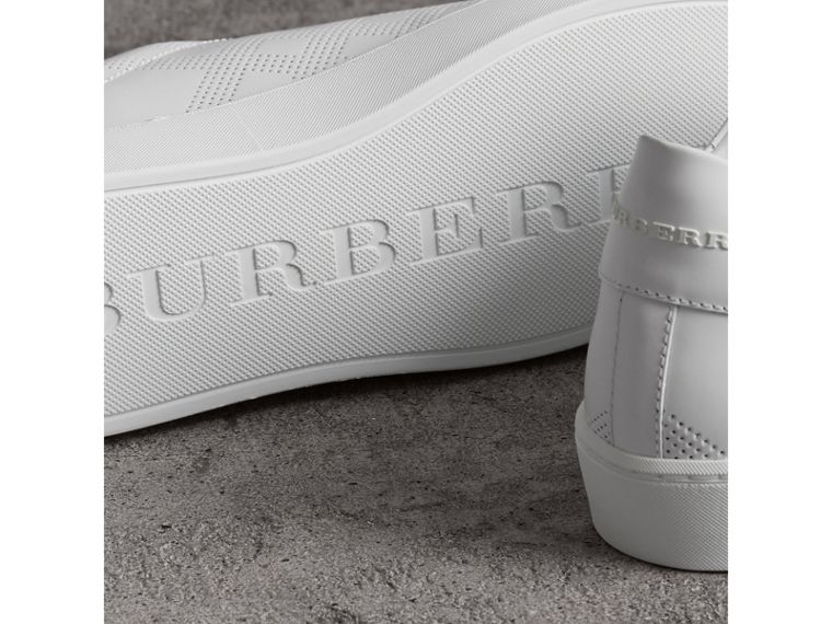 Perforated Check Leather Sneakers in Optic White - Women | Burberry United States - cell image 1
