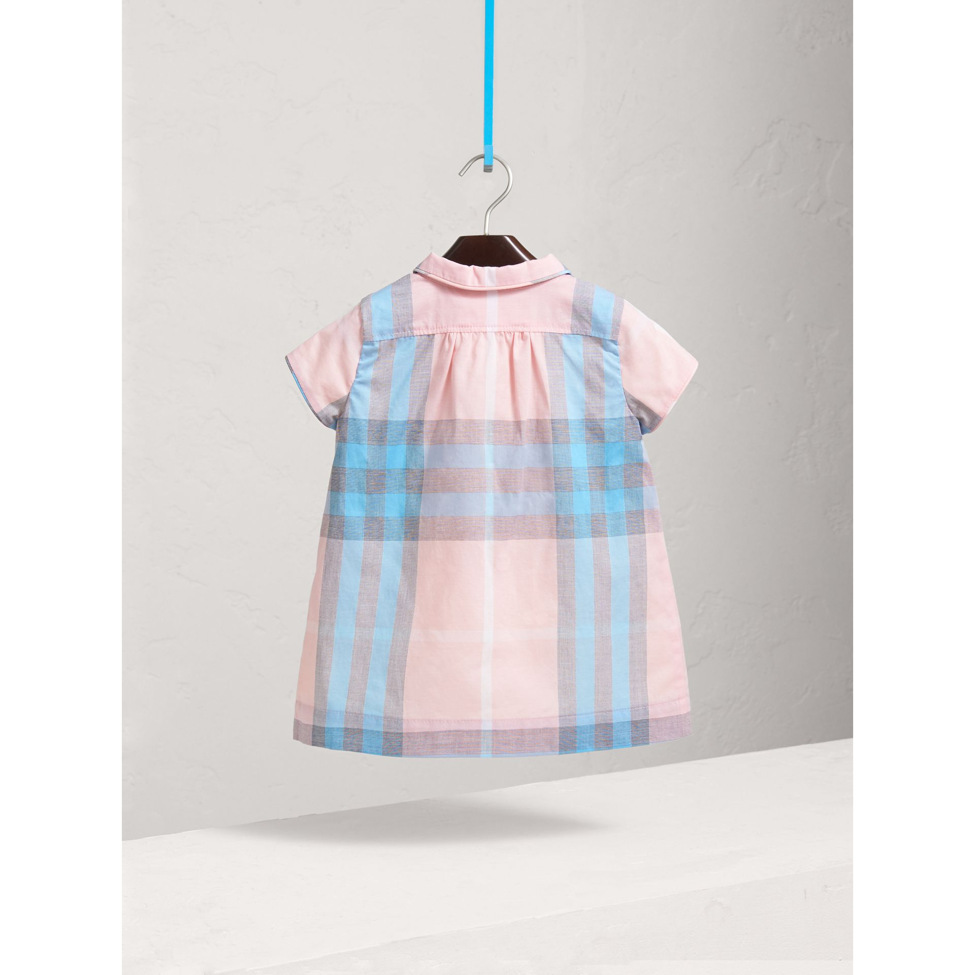 Pleated Bib Check Cotton Dress in Ice Pink | Burberry - gallery image 2