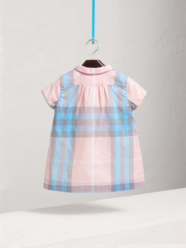Pleated Bib Check Cotton Dress in Ice Pink | Burberry - cell image 2