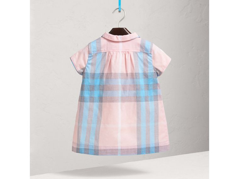Pleated Bib Check Cotton Dress in Ice Pink | Burberry United Kingdom - cell image 2