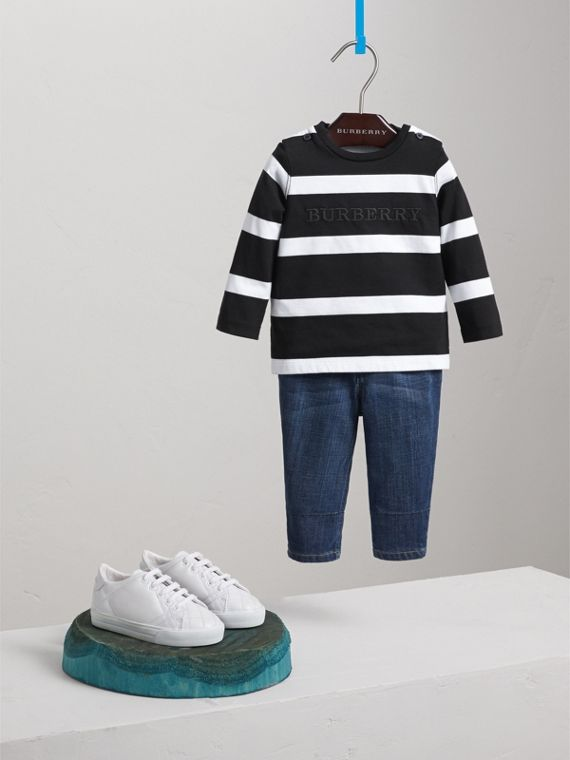 Long-sleeve Striped Cotton Top in Black/white
