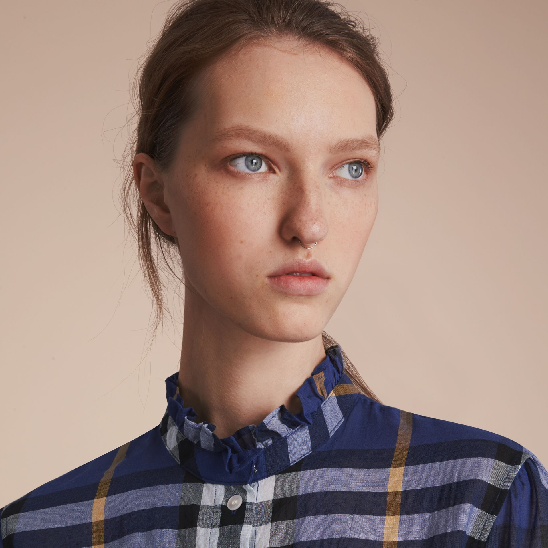 Ruffle Detail Check Cotton Shirt in Lapis Blue - Women | Burberry Australia - gallery image 5