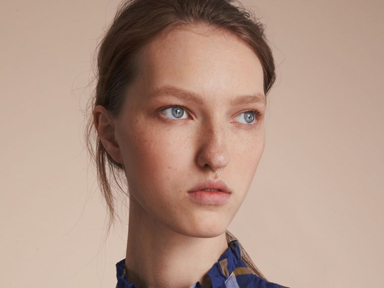 Ruffle Detail Check Cotton Shirt in Lapis Blue - Women | Burberry Australia - cell image 4