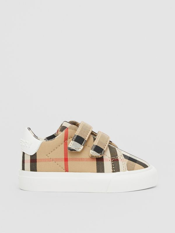 Vintage Check Cotton Sneakers in Archive Beige - Children | Burberry United Kingdom - cell image 3