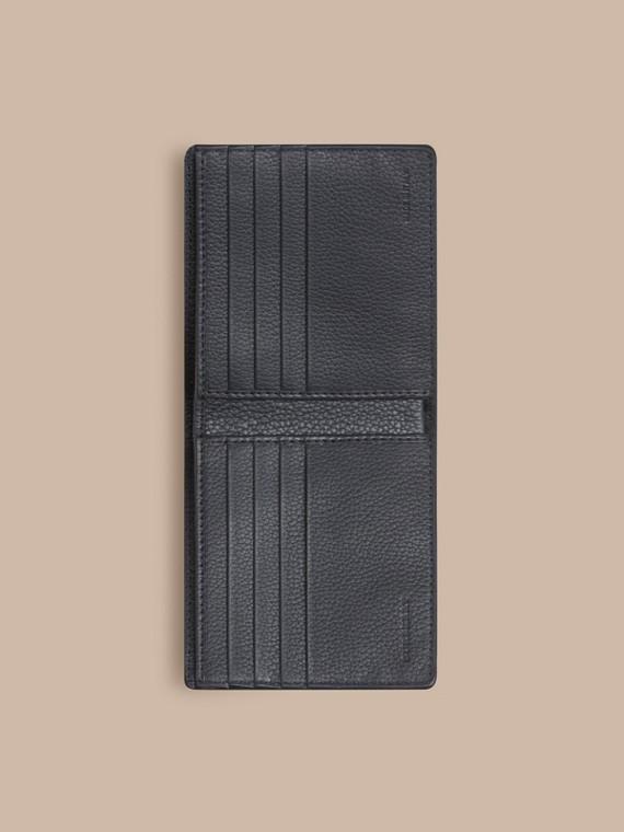 Blu peltro scuro Portafoglio a libro in pelle con motivo check in rilievo - cell image 3