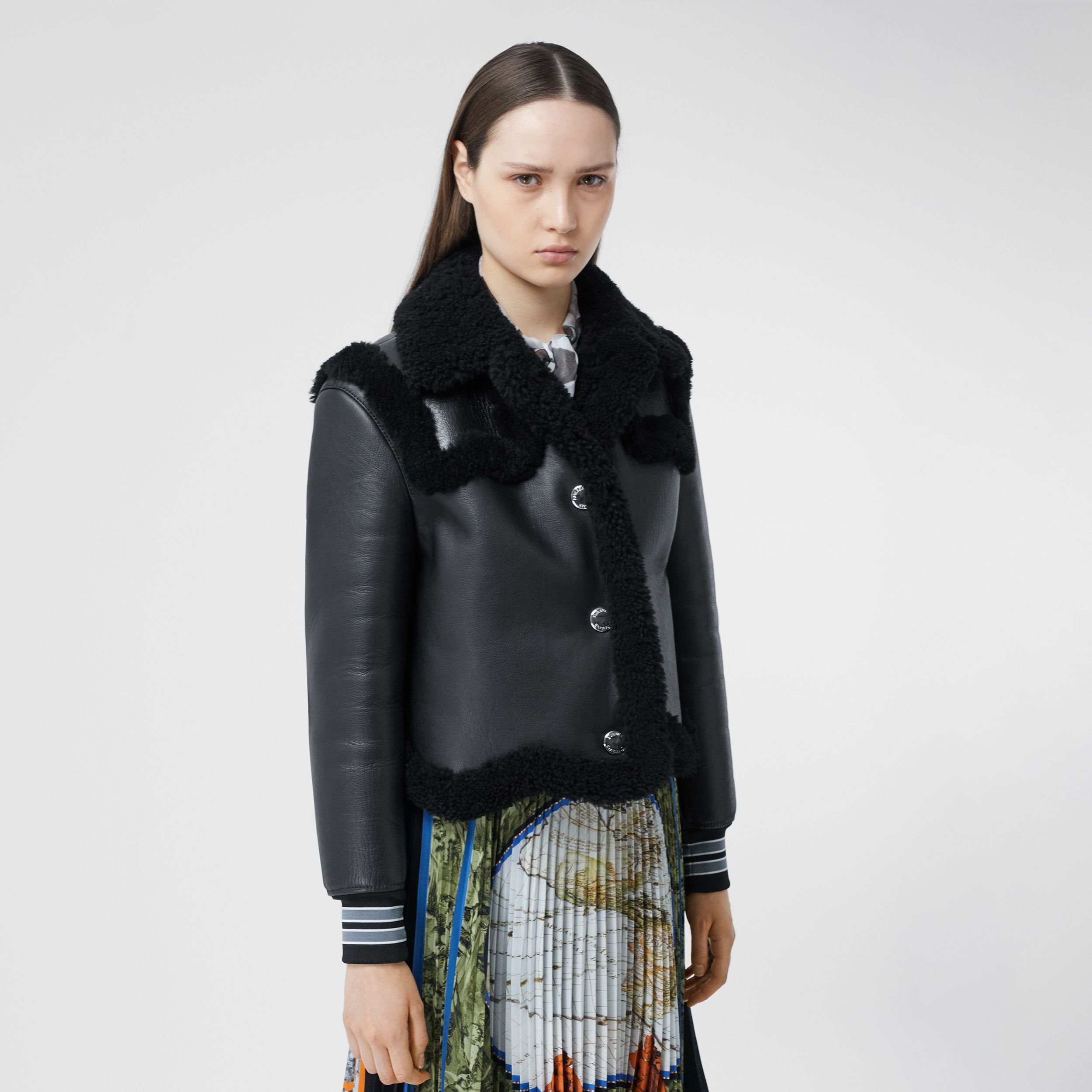 Striped Cuff Leather and Shearling Jacket in Black - Women | Burberry - 1