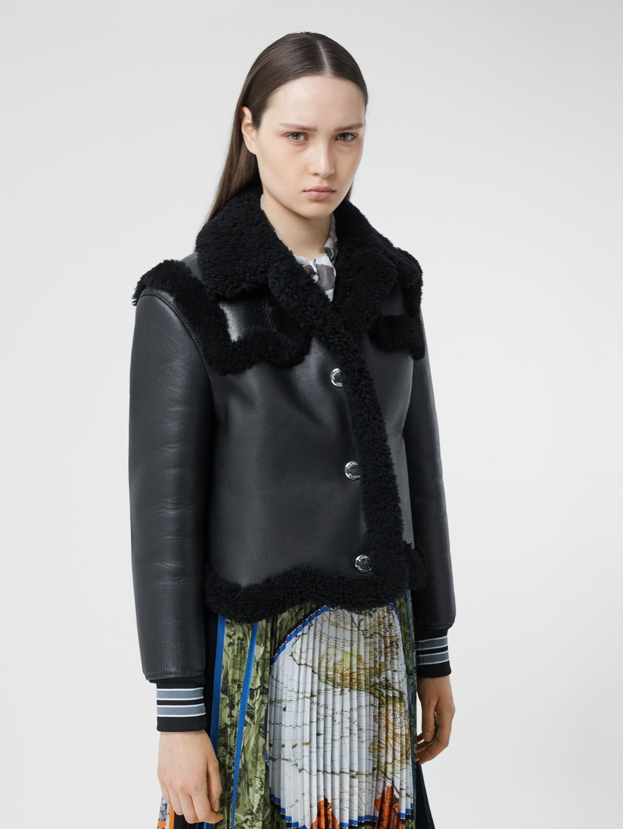 Striped Cuff Leather and Shearling Jacket in Black