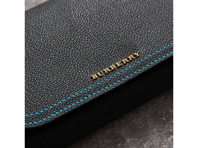Topstitch Detail Leather Wallet with Detachable Strap in Black/multicolour - Women | Burberry - cell image 1