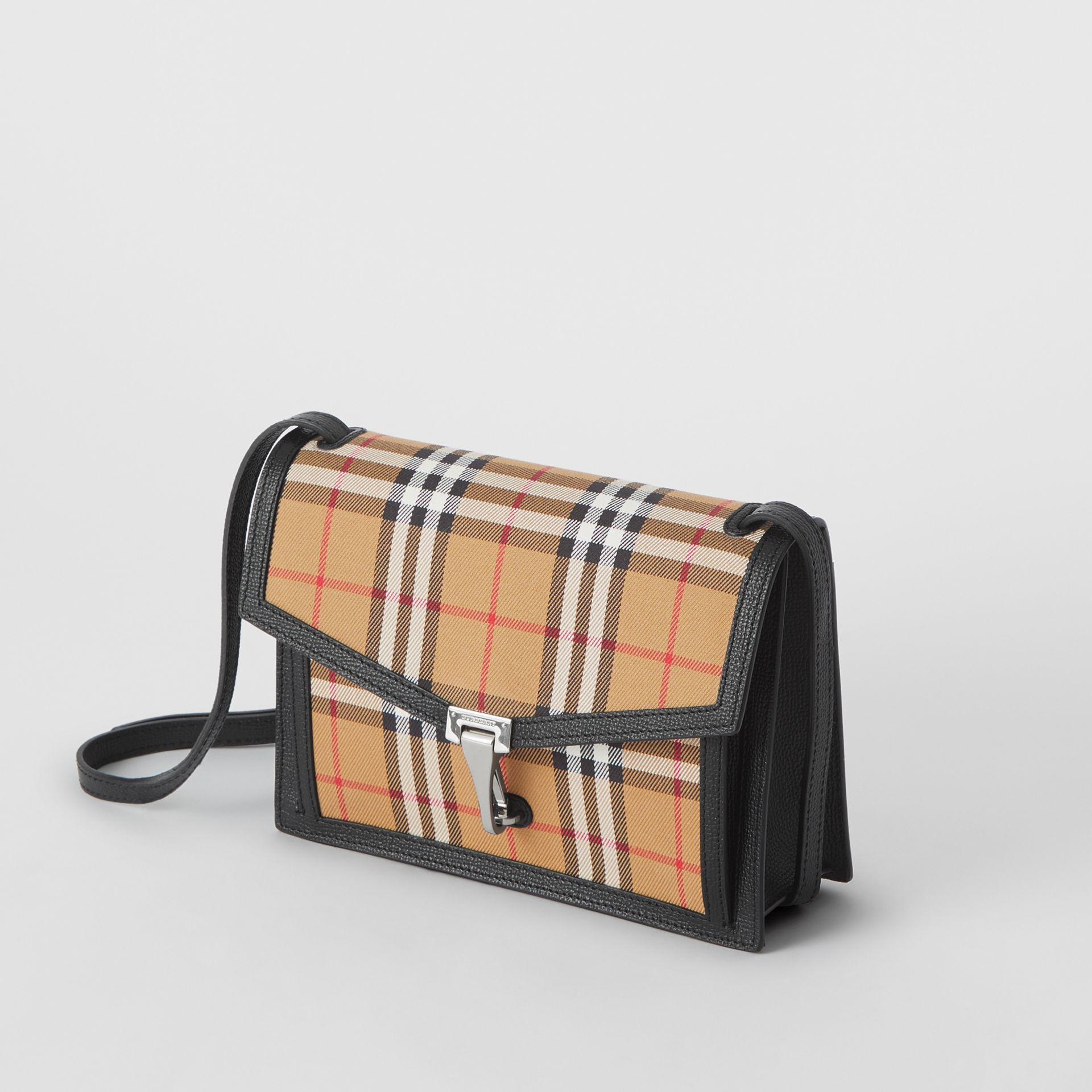 Small Vintage Check and Leather Crossbody Bag in Black - Women | Burberry Hong Kong - gallery image 4