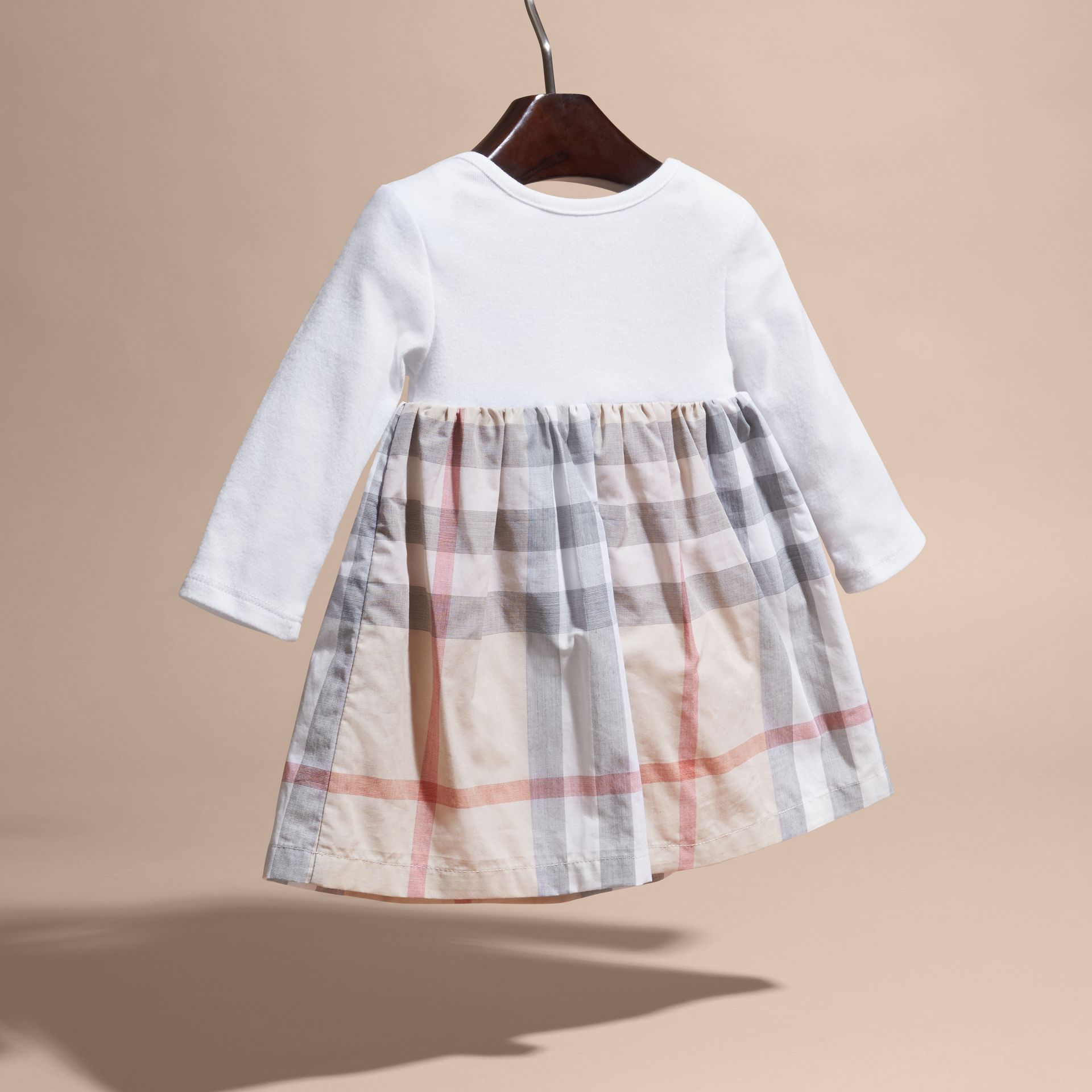 Cotton Check Dress in Pale Stone | Burberry United States - gallery image 4