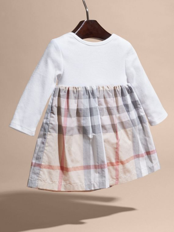 Cotton Check Dress in Pale Stone | Burberry United States - cell image 3