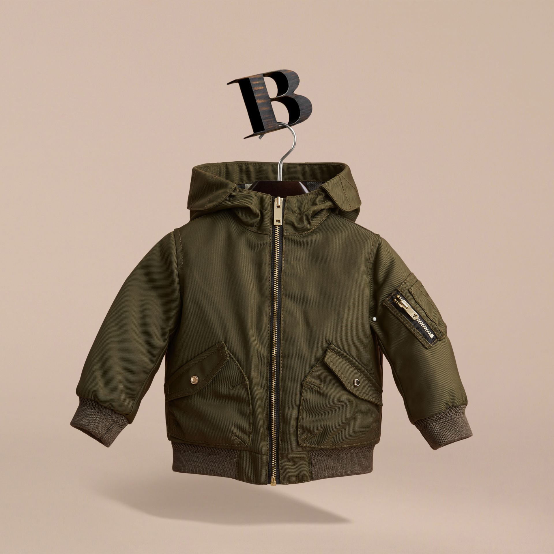 Hooded Technical Twill Bomber Jacket in Caper Green | Burberry - gallery image 3