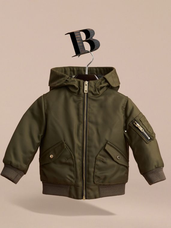 Hooded Technical Twill Bomber Jacket in Caper Green | Burberry - cell image 2