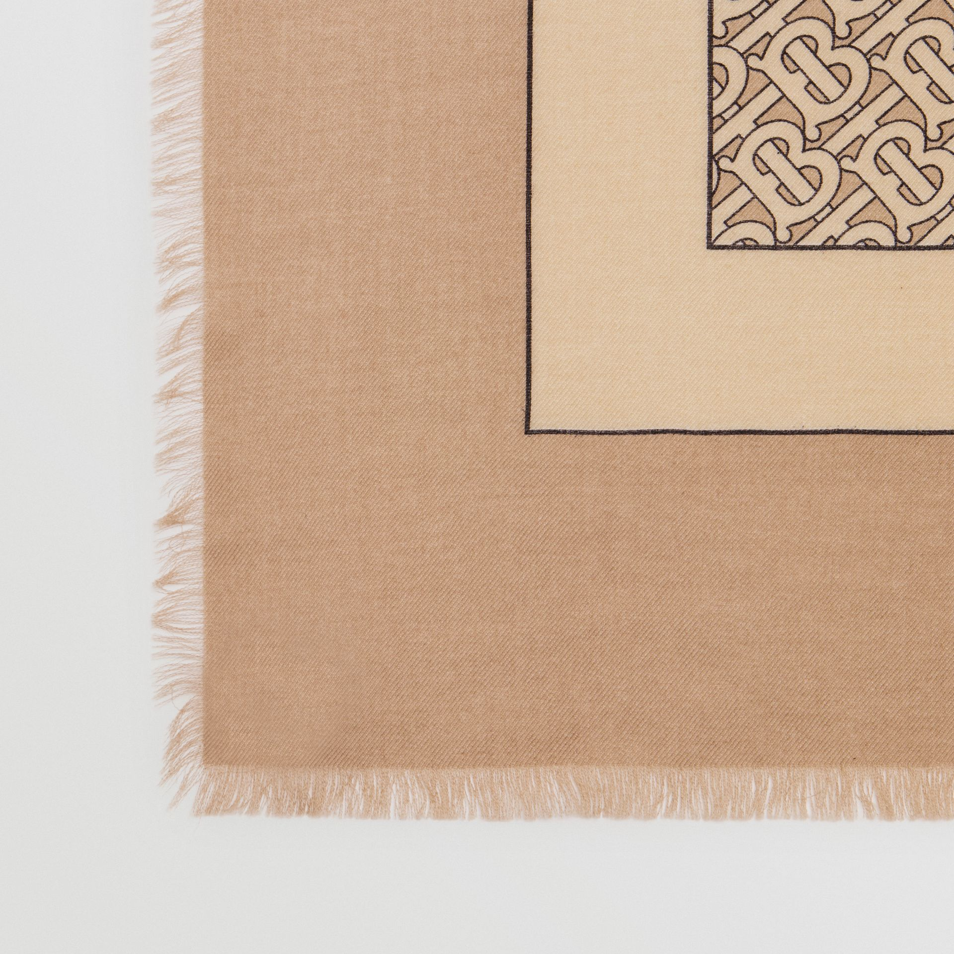 Monogram Print Lightweight Cashmere Scarf in Pale Camel | Burberry Singapore - gallery image 1