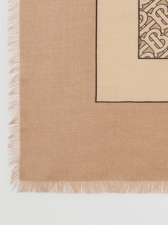 Monogram Print Lightweight Cashmere Scarf in Pale Camel | Burberry - cell image 1