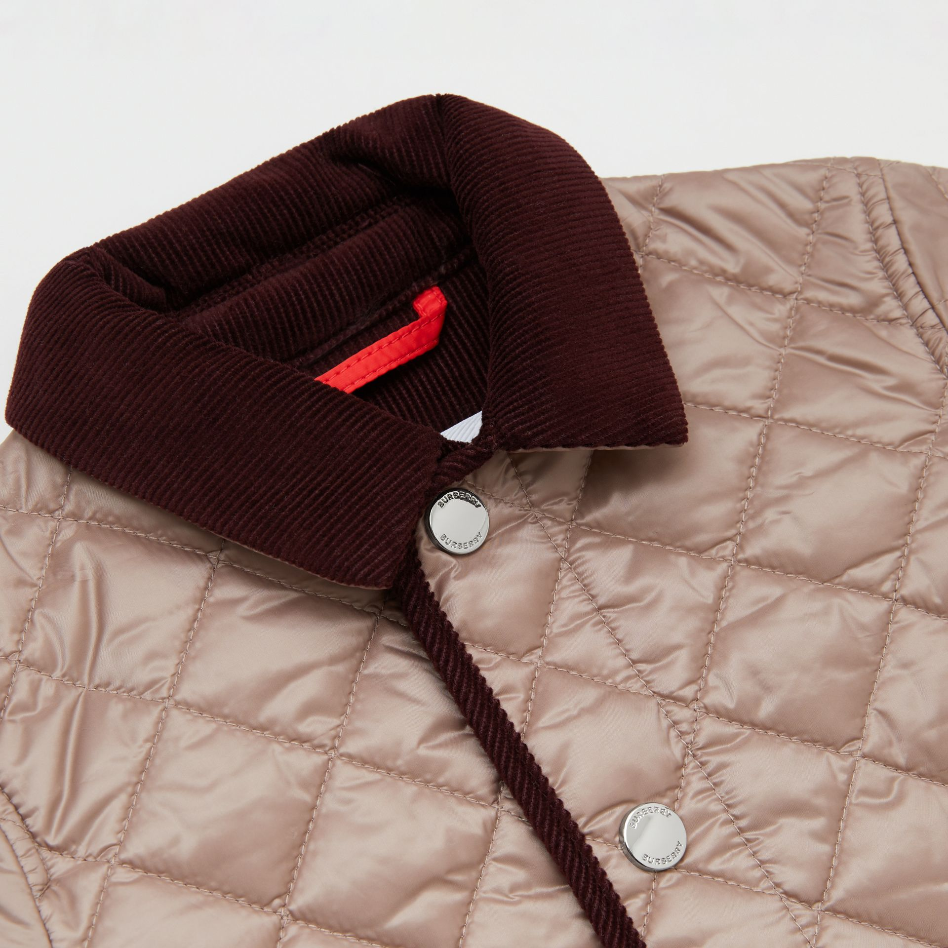 Corduroy Trim Lightweight Diamond Quilted Jacket in Grey Mink - Children | Burberry - gallery image 1