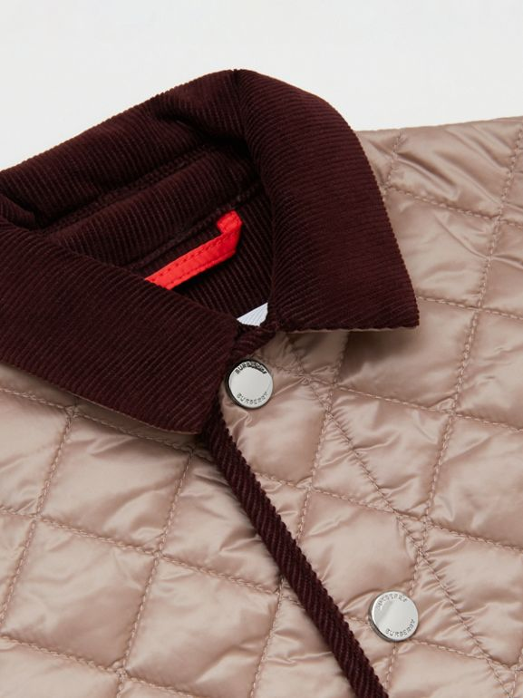 Corduroy Trim Lightweight Diamond Quilted Jacket in Grey Mink - Children | Burberry - cell image 1
