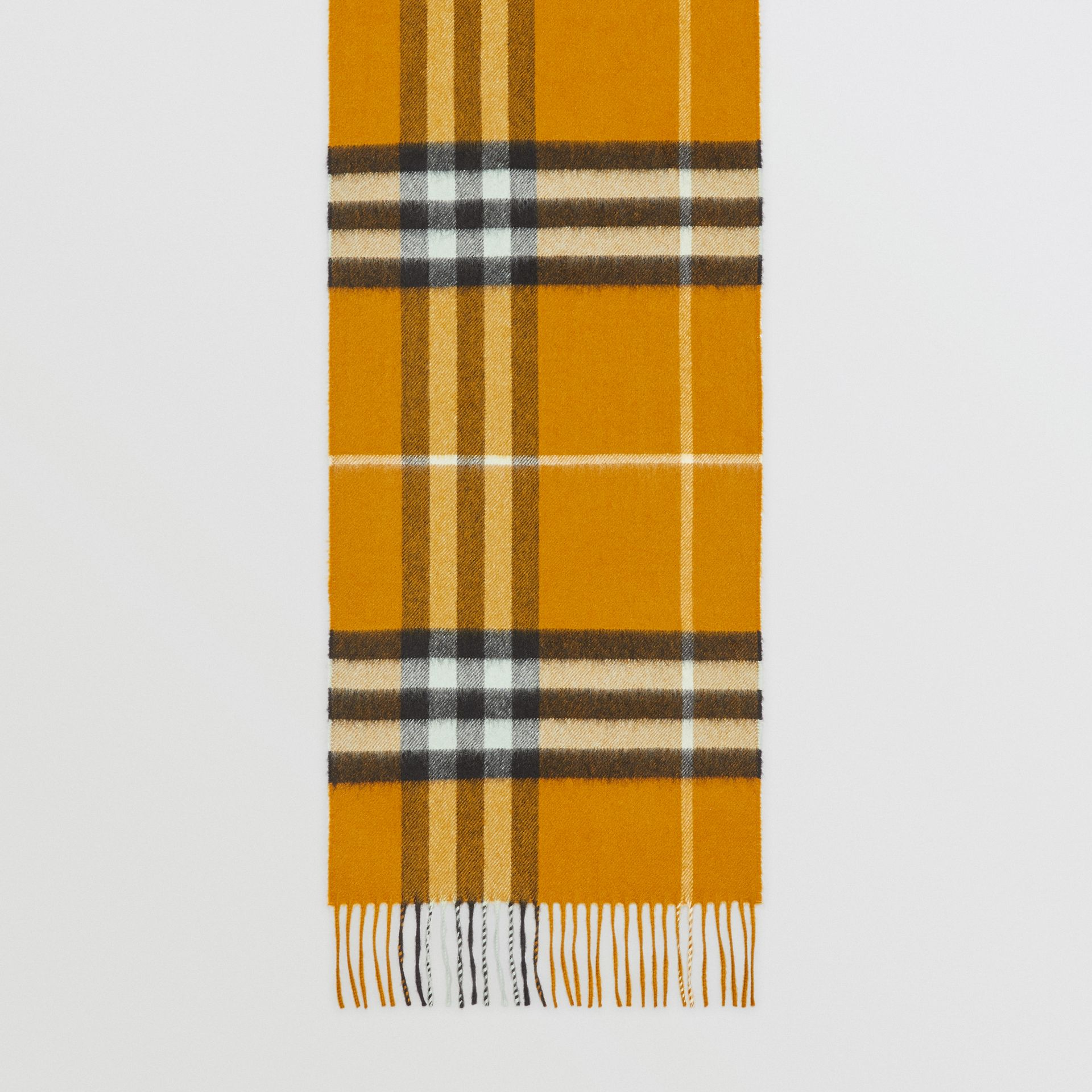 The Classic Cashmere Scarf in Check in Umber Yellow | Burberry - gallery image 4