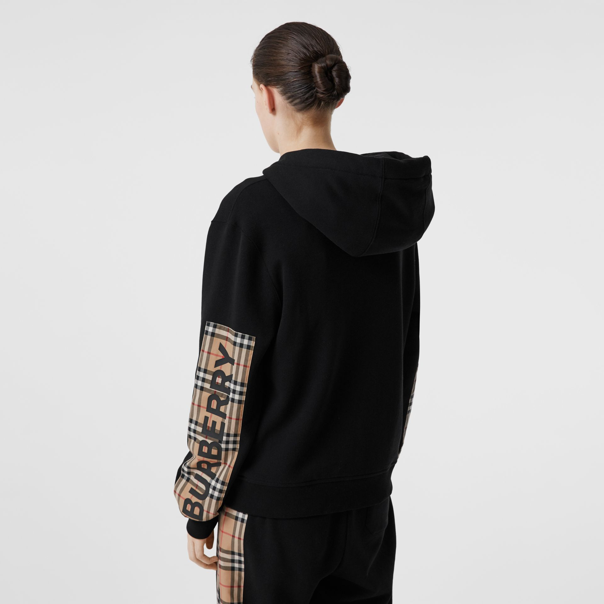 Vintage Check Panel Cotton Oversized Hooded Top in Black - Women | Burberry - gallery image 2