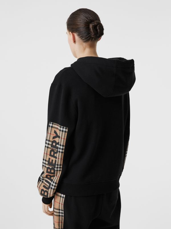 Vintage Check Panel Cotton Oversized Hooded Top in Black - Women | Burberry - cell image 2