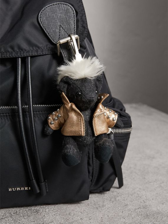 The Punk Thomas Bear Charm in Charcoal | Burberry - cell image 2