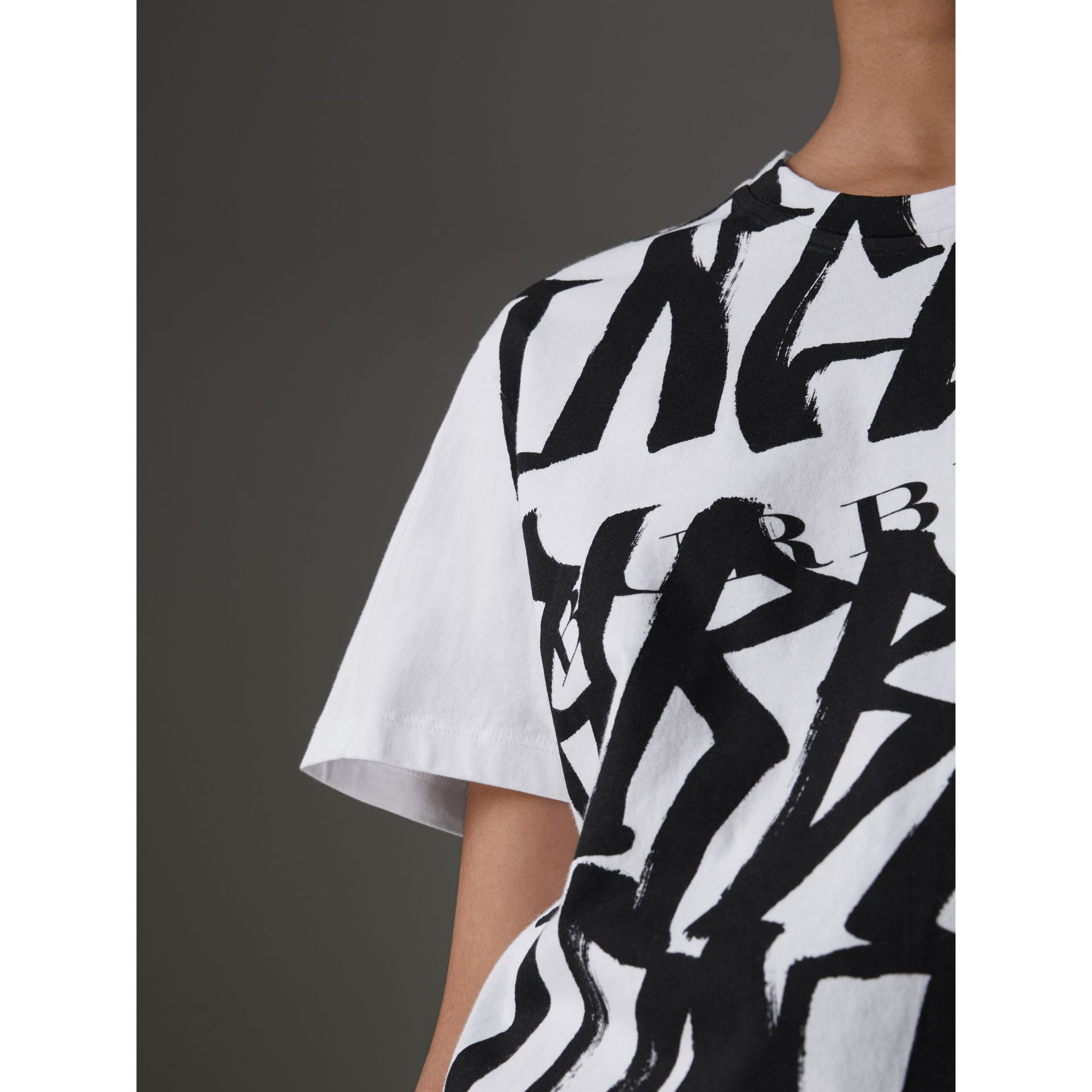 Graffiti Print T-shirt in White - Women | Burberry Australia - gallery image 1
