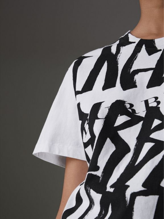 Graffiti Print T-shirt in White - Women | Burberry United Kingdom - cell image 1