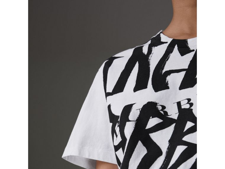 Graffiti Print T-shirt in White - Women | Burberry - cell image 1