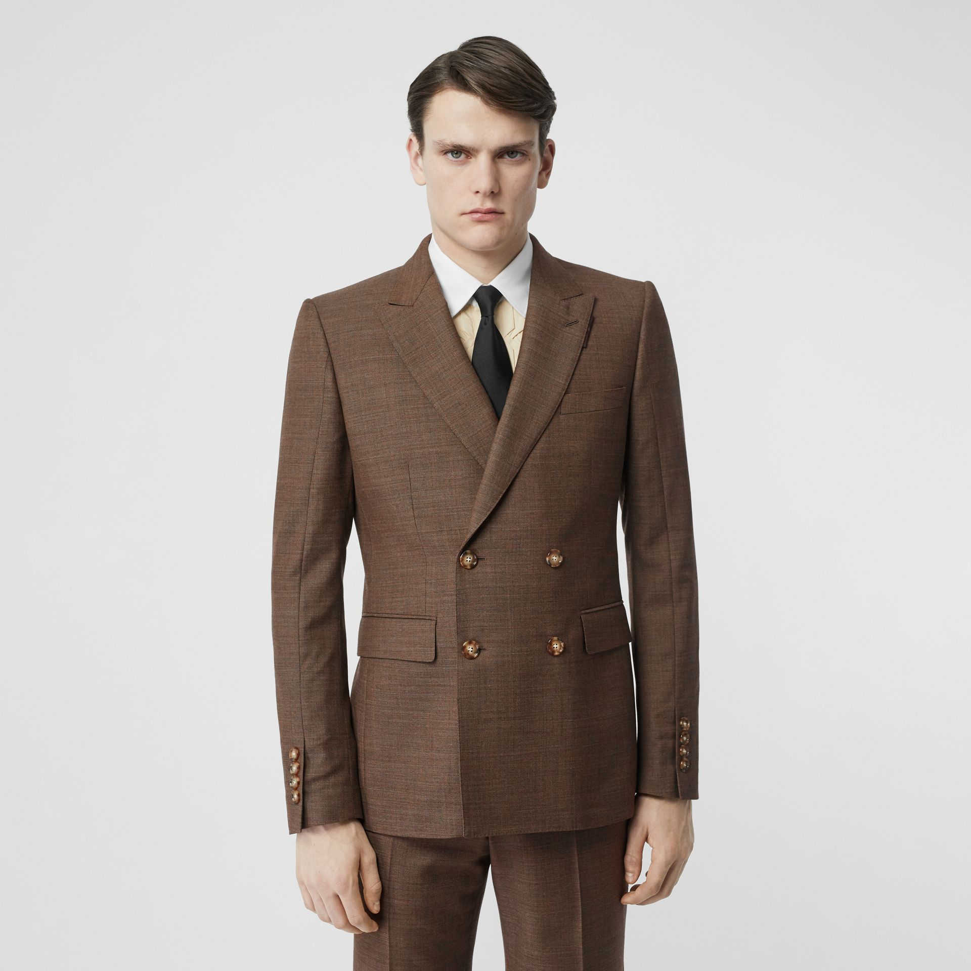 English Fit Sharkskin Wool Double-breasted Jacket in Deep Brown - Men | Burberry - gallery image 1