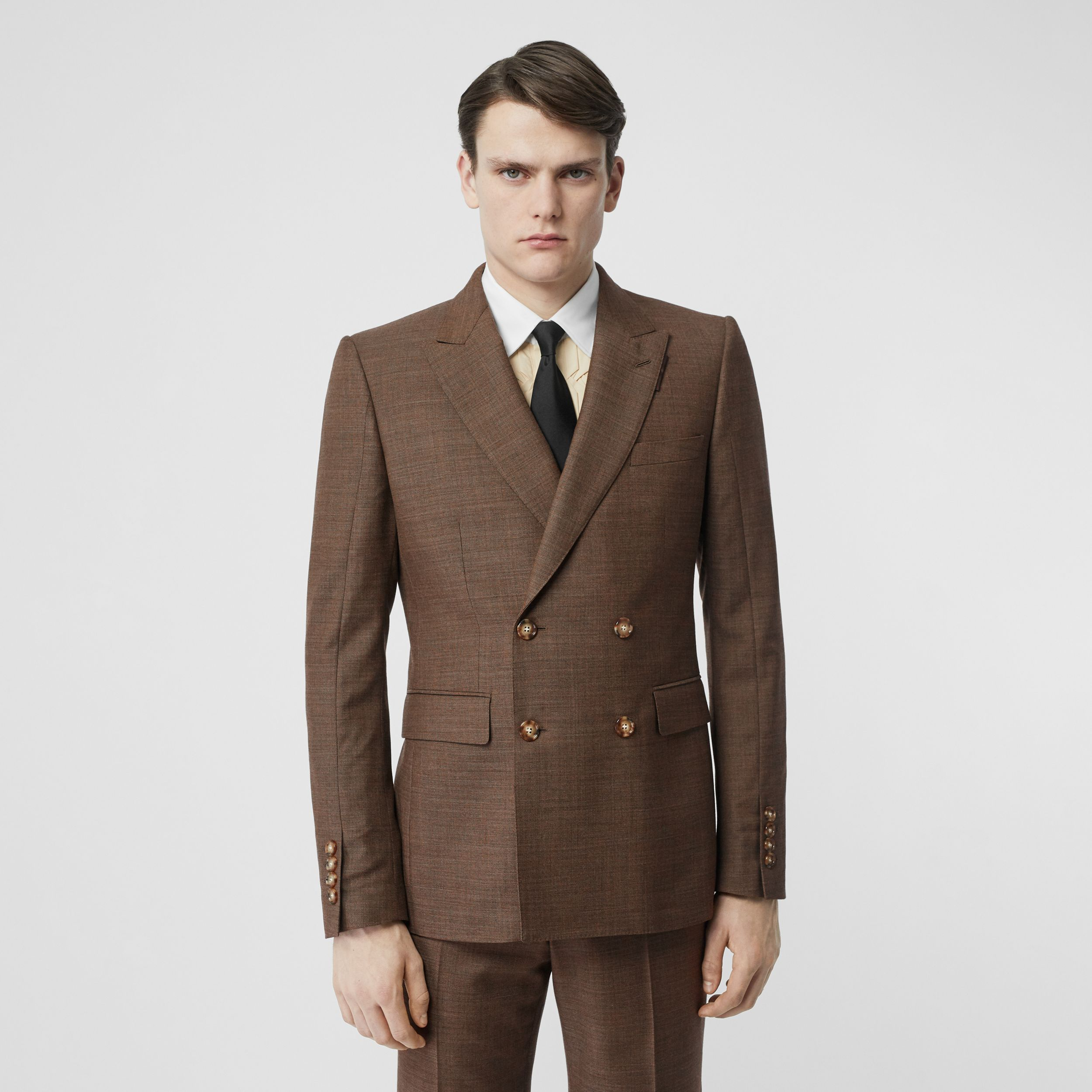 English Fit Sharkskin Wool Double-breasted Jacket in Deep Brown - Men | Burberry United Kingdom - 2
