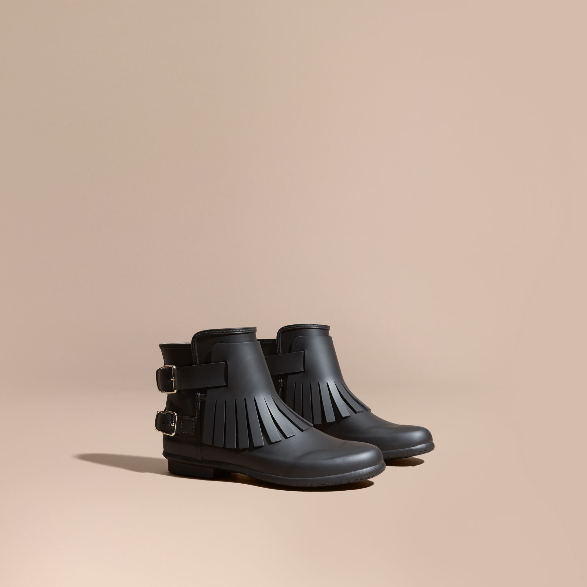 Black Fringed Rain Boots - gallery image 1
