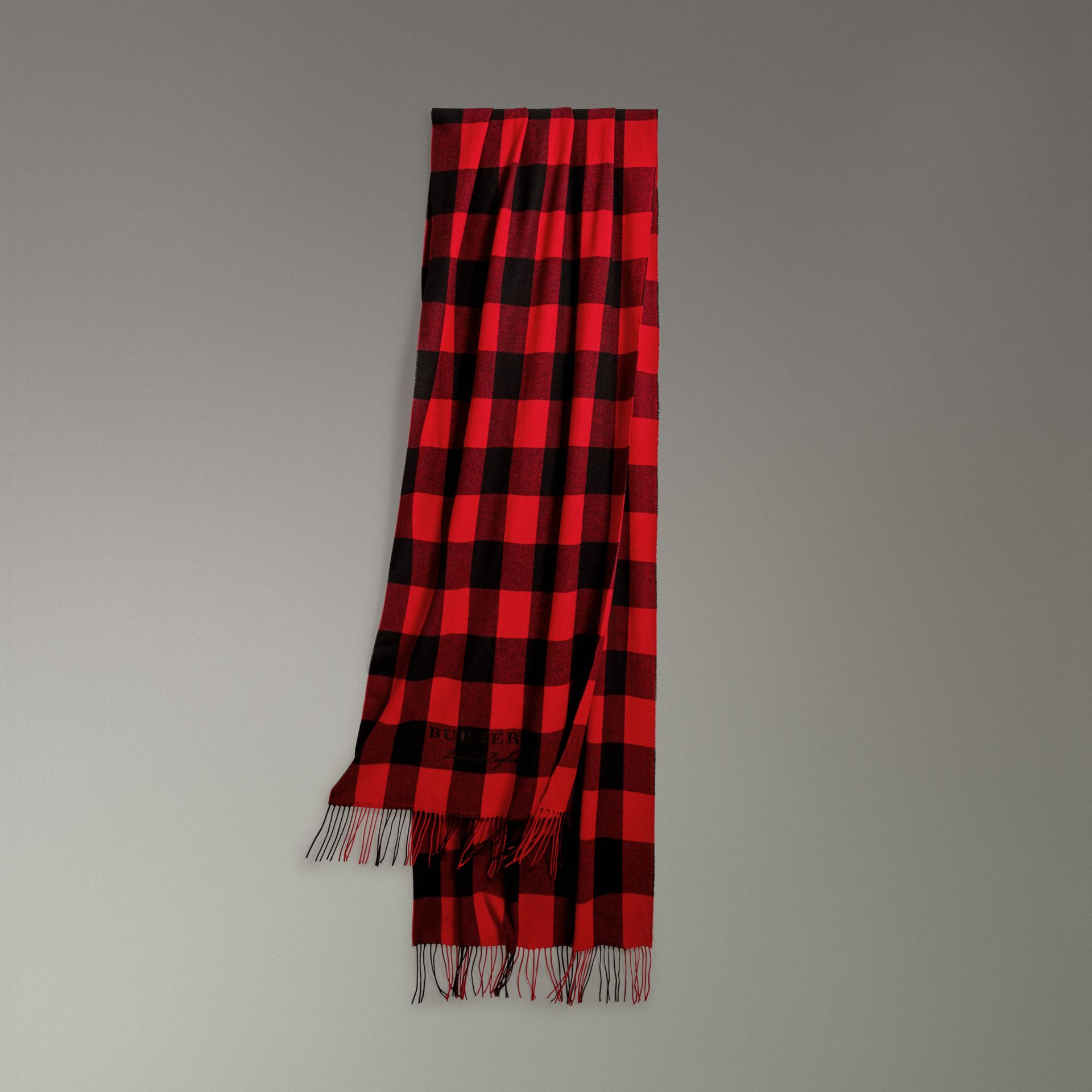 Oversized Gingham Cashmere Wool Scarf in Bright Red - Women | Burberry Australia - gallery image 0