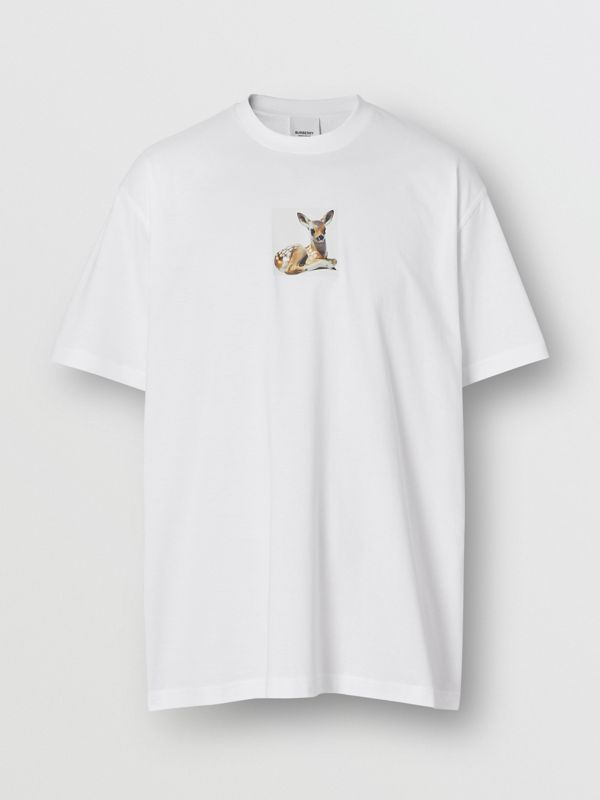 Deer Print Cotton Oversized T-shirt in White - Men | Burberry - cell image 3