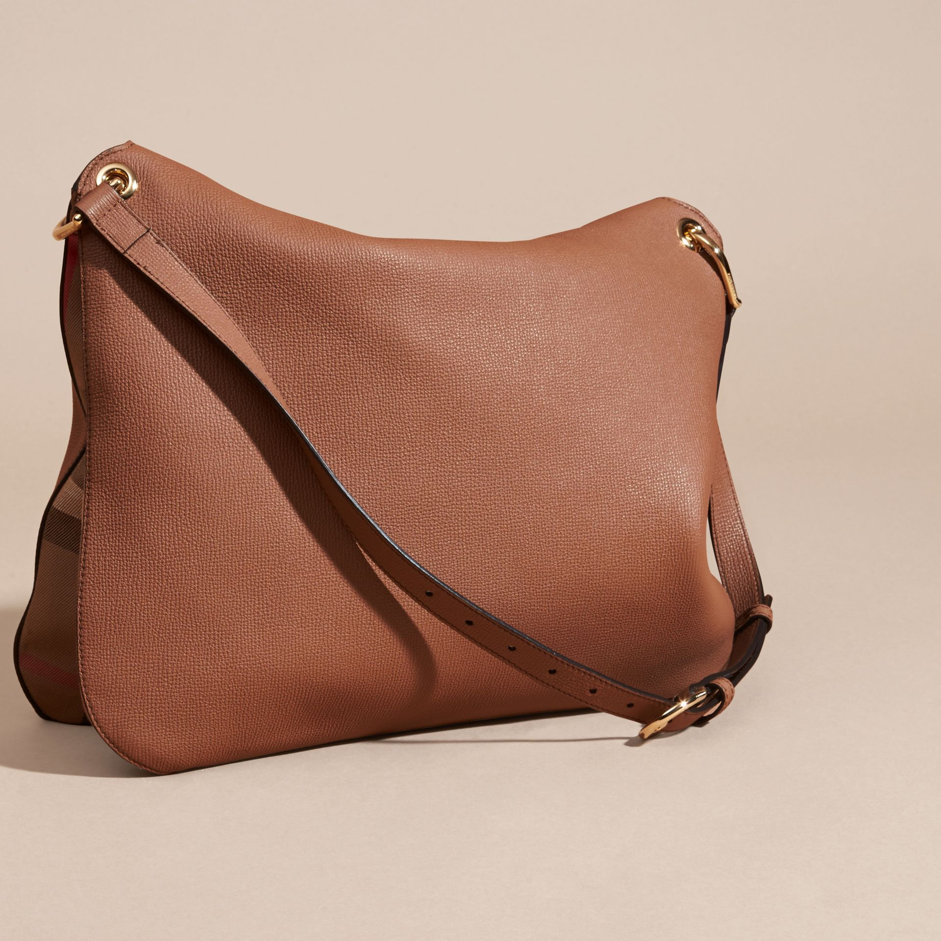 Dark sand Grainy Leather and House Check Shoulder Bag Dark Sand - gallery image 4