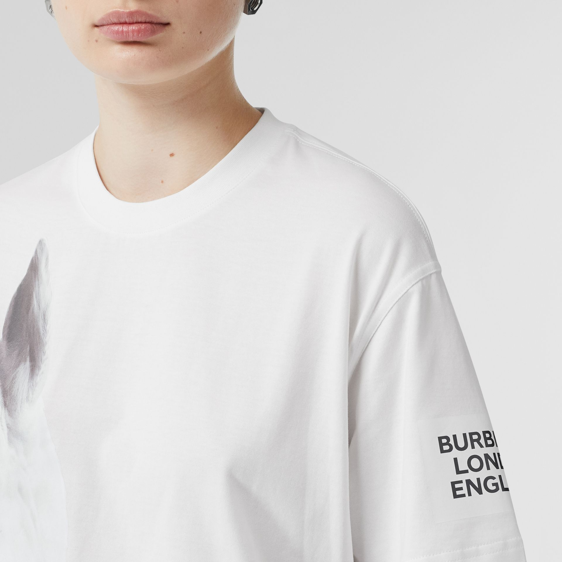 Unicorn Print Cotton Oversized T-shirt in White - Women | Burberry - gallery image 4