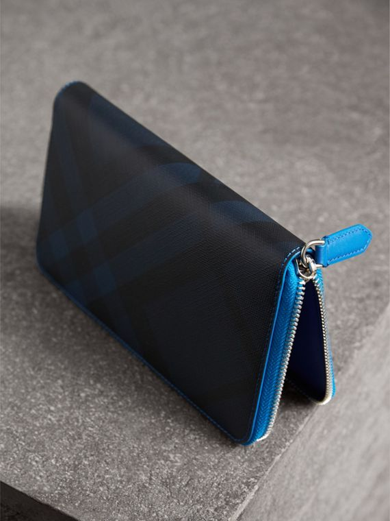 London Check and Leather Ziparound Wallet in Navy/ Blue