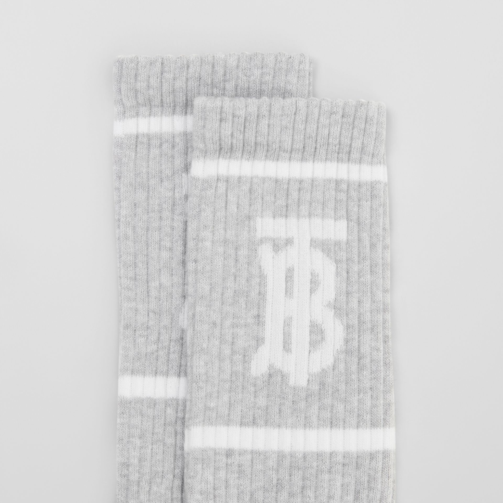 Monogram Motif Intarsia Socks in Pebble Grey | Burberry - gallery image 1