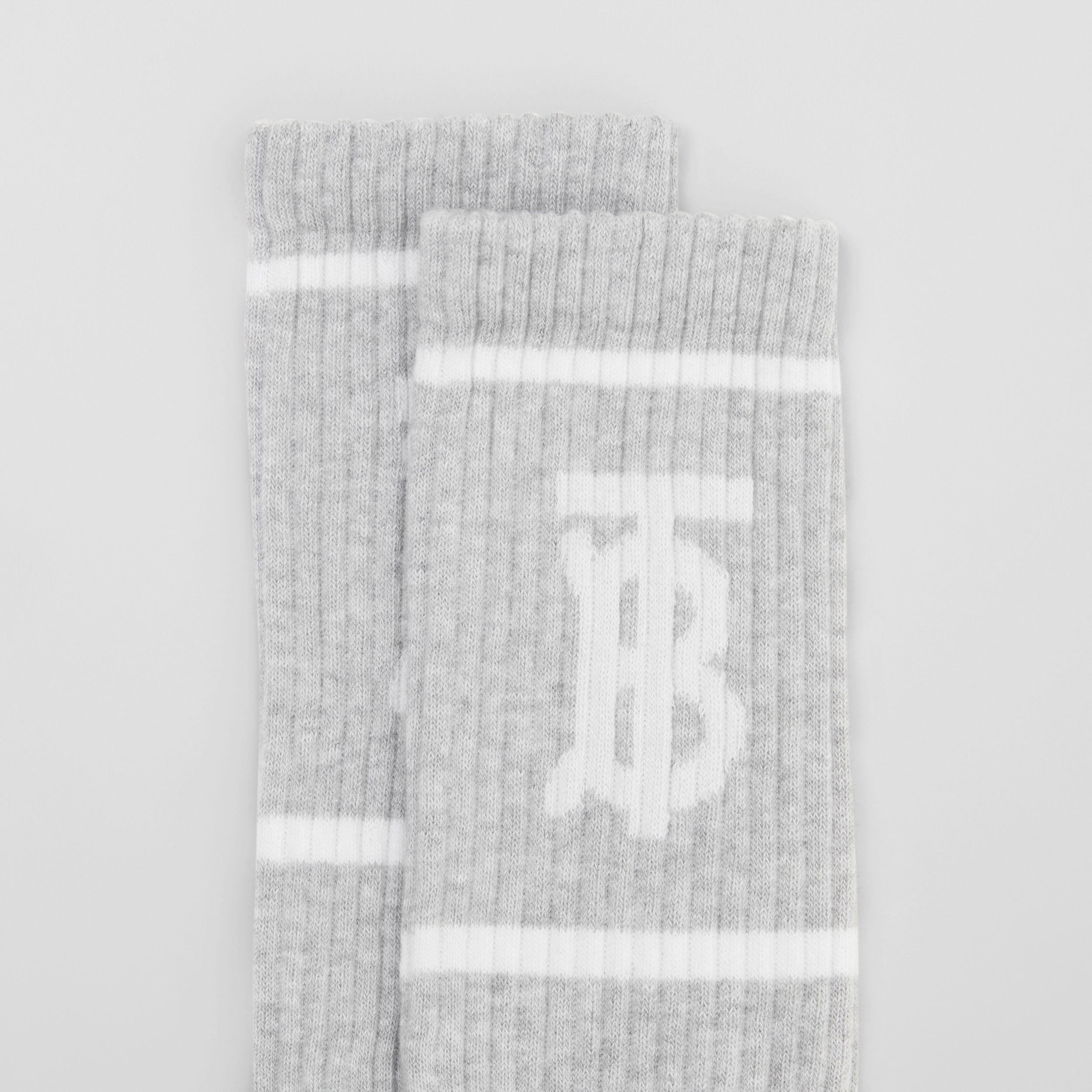 Monogram Motif Intarsia Socks in Pebble Grey | Burberry - 2