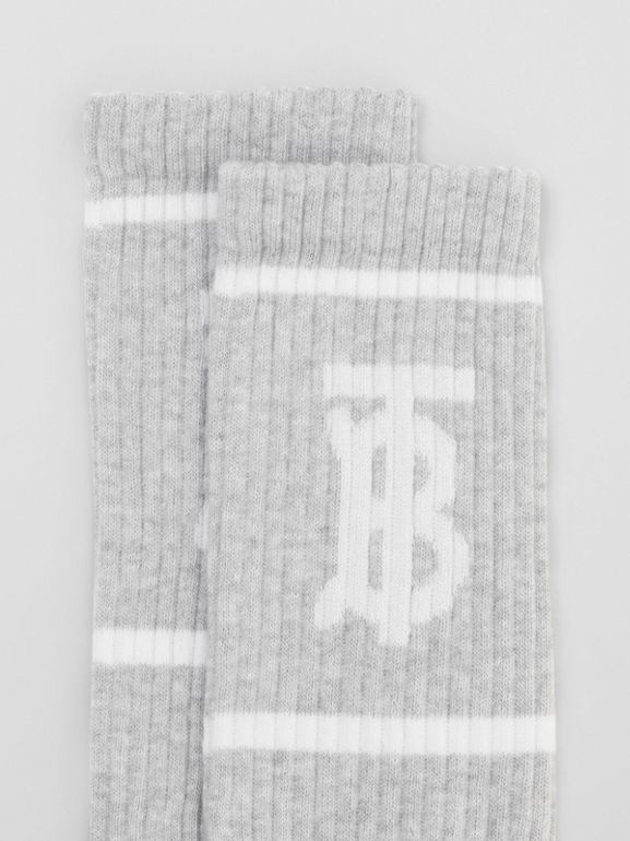 Monogram Motif Intarsia Socks in Pebble Grey | Burberry - cell image 1