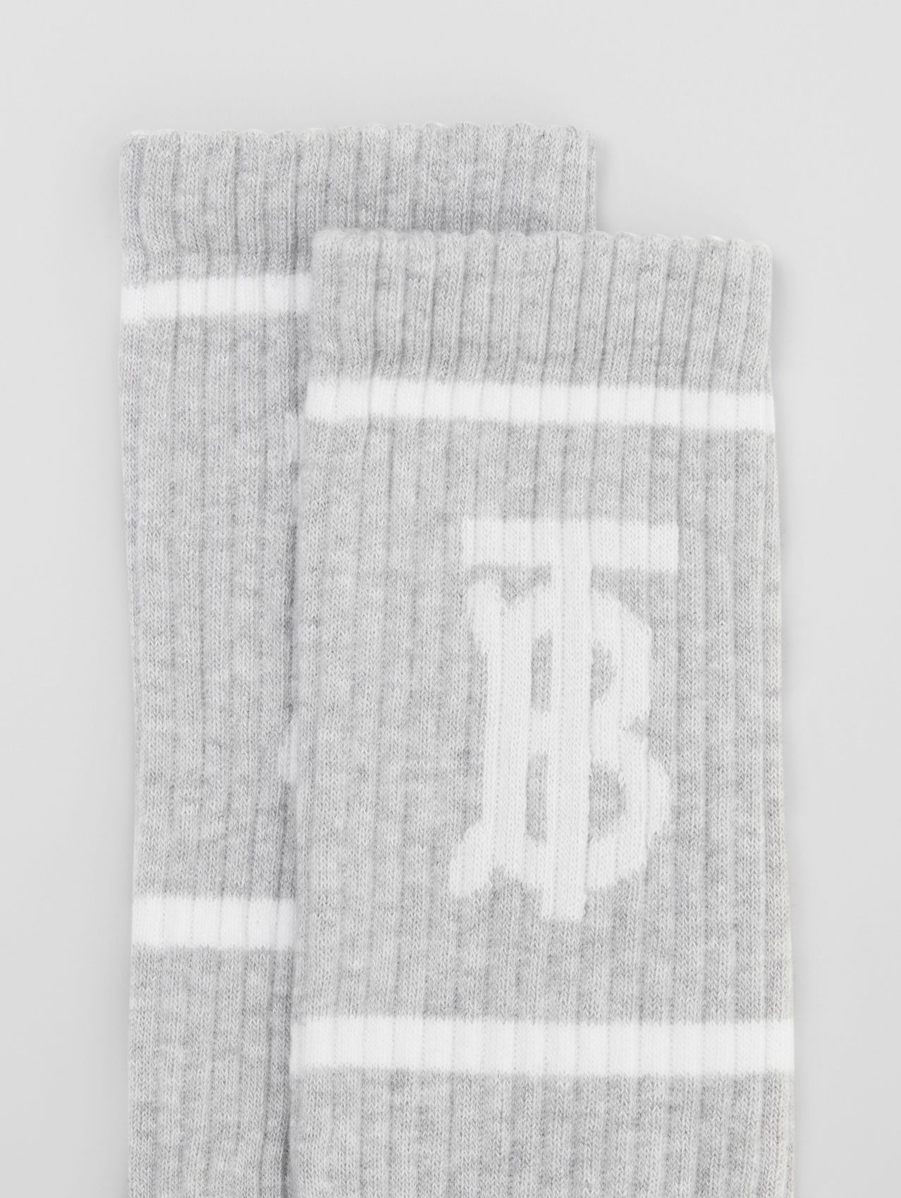 Monogram Motif Intarsia Socks in Pebble Grey